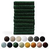 Blumtal Set de 10 Toallas de Tocador (30x50cm) - Toallas Suaves y Absorebentes, 100% algodón, Certificado Oeko-Tex 100, Verde Oscuro