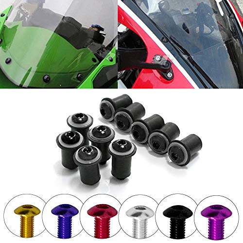 COPART M5 15mm Fairing Bolt Kit Screws Nuts Washers Mounting Kits for Motorcycle Windshield Windscreen Body Work,Black