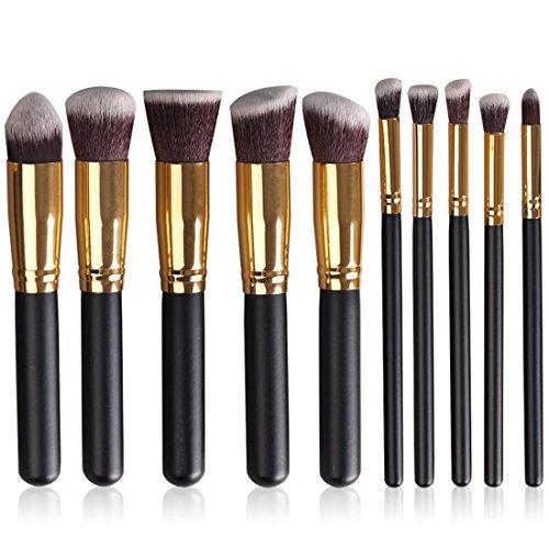 10 Contour Brush Set de brosse à maquillage Blush Brush Brosse à ombre à paupières Brow Brush Correcteur Brush Brush Brush Powder Brush Foundation BrushSynthétique , black