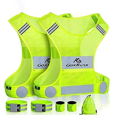 2 Pack Reflective Vest Running Gear, Ultralight & Comfy Cycling Reflective Vests with Large Pocket & Adjustable Waist for Women Men, Night Runner Safety Vest + Hi Vis Armbands & Bag (Large)