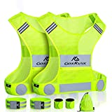 2 Pack Reflective Vest Running Gear, Ultralight & Comfy Cycling Reflective Vests with Large Pocket & Adjustable Waist for Women Men, Night Runner Safety Vest + Hi Vis Armbands & Bag (Large)