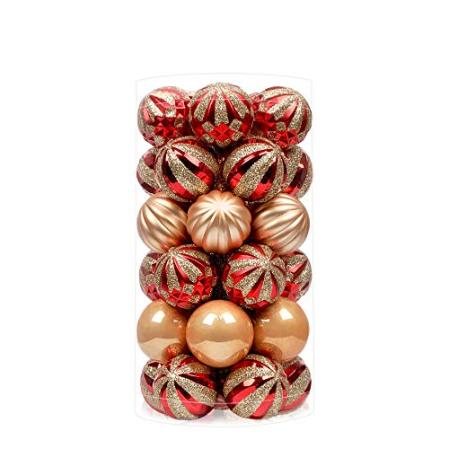 SHareconn 30ct 1.57 Inch Christmas Balls Ornaments for Christmas Tree, Shatterproof Colored Decoration Baubles for Holiday Party, Tree Ornaments Hooks Included (40mm,Red & Gold)