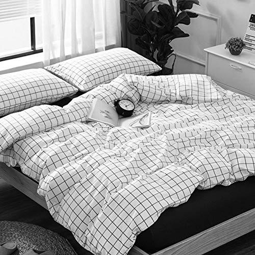 Boqingzhu Karierte Bettwäsche 155x220cm Schwarz Weiß Kariert Karo Muster 2 TLG. Microfaser Bettwäsche Set mit 80x80cm Kissenbezug