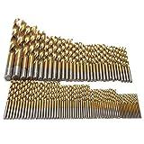 Fresa espiral Brocas Set Uso de trabajo for la madera, 99pcs titanio HSS Brocas con recubrimiento de 1,5 mm - 10 mm Taladro de acero inoxidable HSS de alta velocidad de bits fijado for el taladro Herr