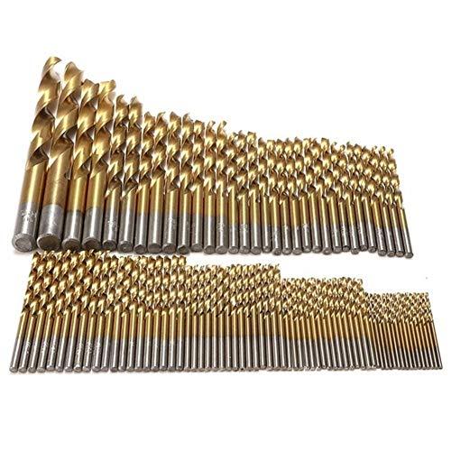 Brocas, Uso de trabajo for la madera, 99pcs titanio HSS Brocas con recubrimiento de 1,5 mm - 10 mm Taladro de acero inoxidable HSS de alta velocidad de bits fijado for el taladro Herramientas eléctric