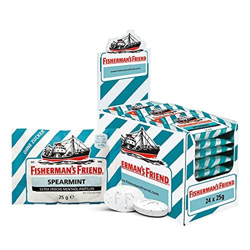 Fisherman\'s Friend Spearmint | Karton mit 24 Beuteln | Menthol und Spearmint Geschmack | Zuckerfrei für frischen Atem