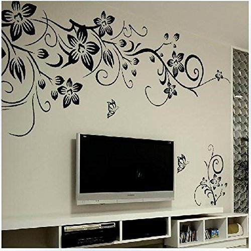 Snner Wandaufkleber Wandtattoo Wandsticker wallsticker weiße schwarze Blumen WAG-019