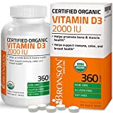 Bronson Vitamin D3 2000 IU for Immune Support, Healthy Muscle Function & Bone Health, USDA Certified Organic Non-GMO Gluten Free Vitamin D Supplement, 360 Tablets