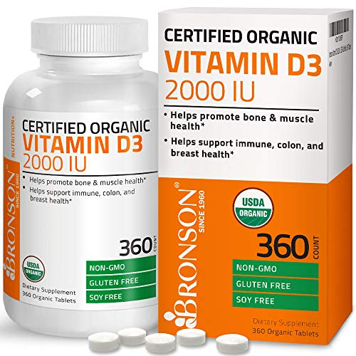 Bronson Vitamin D3 2000 IU Certified Organic Vitamin D Supplement, Non-GMO Gluten Free USDA Certified Formula, 360 Tablets