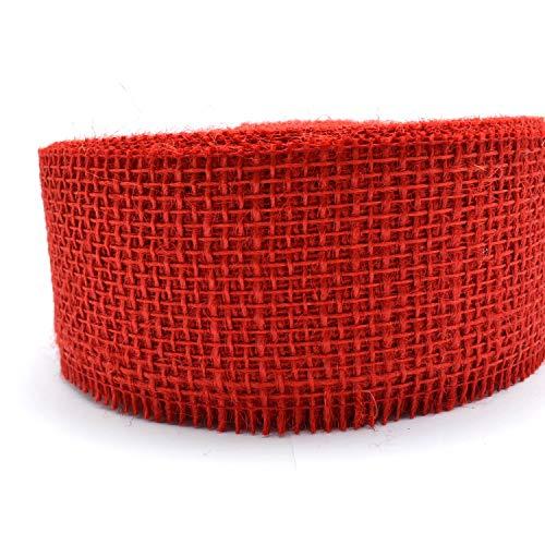 finemark 3 m x 60 mm Dekoband Jute ROT Juteband Geschenkband 6 cm Gitterband Schleifenband aus Naturjute nachhaltig Weihnachten Deko Geburtstag Geschenkverpackung