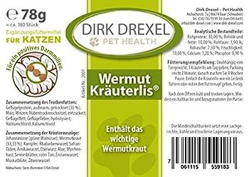 Chats de Dirk Drexel Wurm Kräuterlis | avant pendant et après une infestation / vermifugation par un ver traité | Friandises - Aucune: Anti Worm | nutrition naturelle en cas d'infestation par les vers