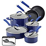 Farberware 10640 Millennium Nonstick Cookware Pots and Pans Set, 12 Piece, Blue
