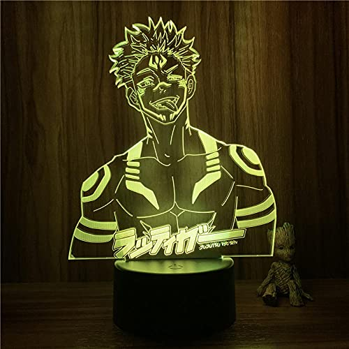 Lámpara De Ilusión 3D, Luz De Noche Led, Anime Jujutsu Kaise Ryomen Sukuna, Figura De Cuerpo Malvado, 7 Colores, Lámpara De Mesa Táctil, Decoración De Dormitorio, Regalo
