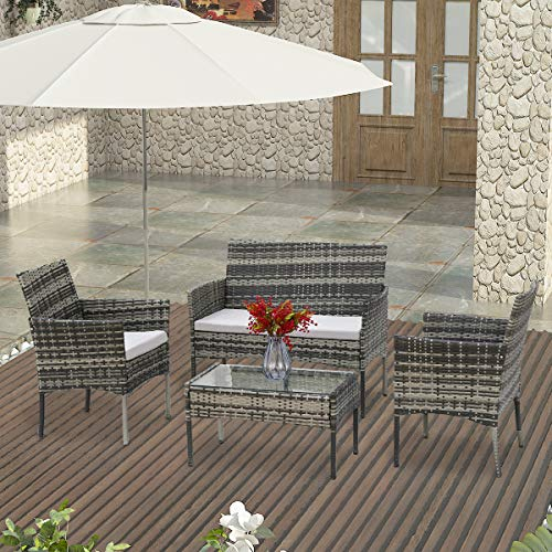 lifetech Rattan Table And Sofa Chair 4 Piece Set Garden Furniture Patio Outdoor Conservatory Indoor Grey