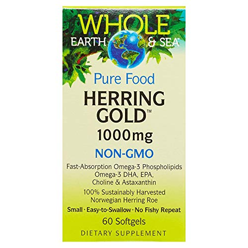 Whole Earth & Sea from Natural Factors, Herring Gold 1000 mg, Whole Food Fish Oil Supplement, Non-GMO, 60 softgels (60 Servings)