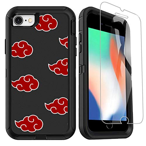 OTTARTAKS iPhone SE 2020 Case with Screen Protector, Naruto-Anime iPhone 7 8 Case for Boys Men Cool Design, Full Body Heavy Duty Shockproof Protective Case for iPhone SE 2nd/7/8/6/6s, Akatsuki-Cloud