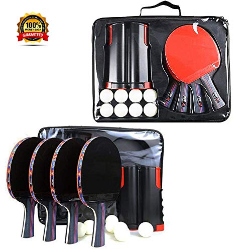 Best Buy! SJBF Ping Pong Paddle Set Anywhere, Ping Pong Equipment for AnyTable,4 Premium Table Tenni...