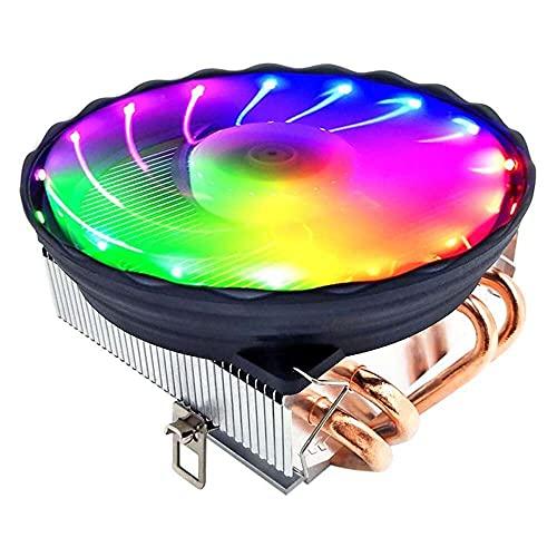 Yuyanshop Enfriador de CPU horizontal, 4 Heatpipes 120 mm CPU Cooler LED RGB Ventilador compatible con Intel GA 1155/1151/1150/1366 AMD