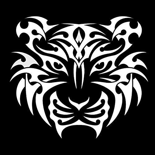 SHMAZ 13,5 * 12 Cm Mighty Tiger Calcomanía Gráfica para Ventana Estilo De Coche Amante De La Caza Pegatinas De Coche Negro/Plateado