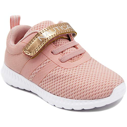 Nautica Kids Fashion Sneaker Athletic Running Shoe with One Strap Boys Girls Toddler - Little Kid-Towhee Girls-Rose Gold-11