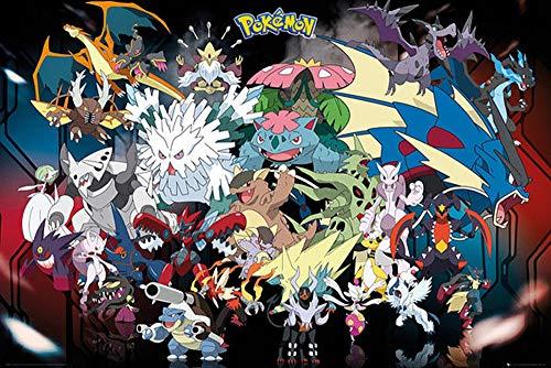 Mega Poster de Pokemon (91,5cm x 61cm) + un poster surprise en cadeau!