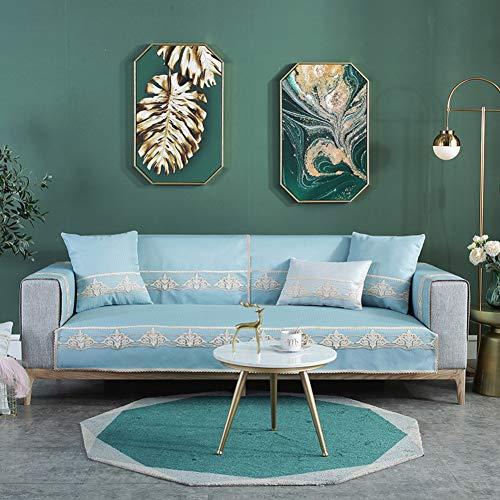 Linnen decoratieve sofa bescherming afdekking anti-slip snijbank afdekking pad hele seizoen top sofa sprei cover voor L U-vormige bank hoekbank