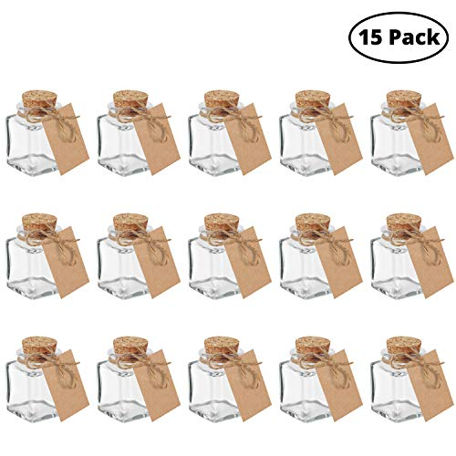 Belle Vous Bote Cristal Tapon Corcho (Pack de 15) -Mini Botellas de Cristal 45ml con Cordel y Etiqueta Papel Kraft - Mini tarros Perfecto para Regalos Bodas Bote Pequeño Cristal Manualidades