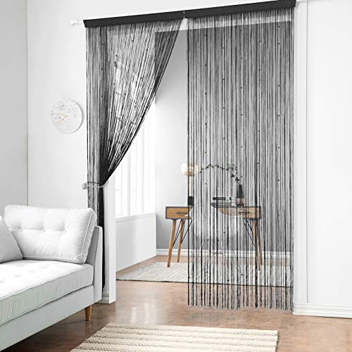 Taiyuhomes Beaded String Curtains with Pearl Beads Dense Fringe Beaded Door Tassel Curtains (39x79,Black)