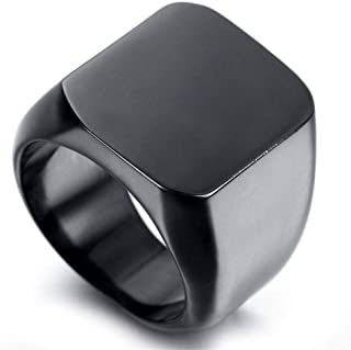 Men's black ring polished with titanium
