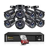 Anlapus 1080P H.265+ Kit Cámaras de Vigilancia Exterior 8CH Videograbador DVR con 8 Cámaras de Seguridad 2TB Disco Duro, Visión Nocturna, Alarma Email, P2P