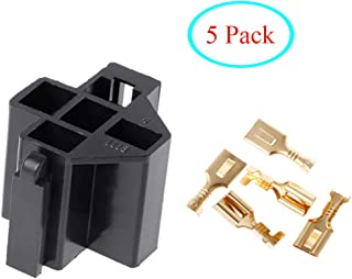 Orgrimmar 5x 5 Pin Relay Connector Socket with 40A 5 x 6.3mm Terminals Car Truck Vehicle Relay Case Holder