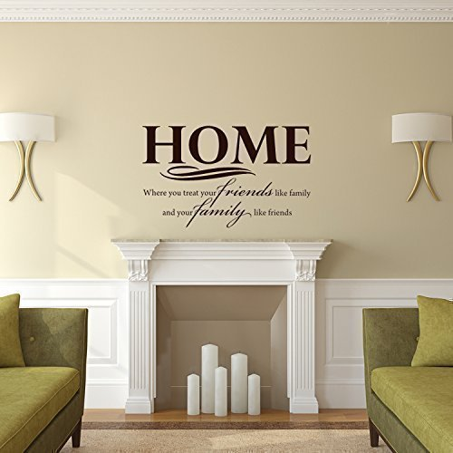 Living Room Wall Decor | Home, Friends, Family Quote Decal | Black, Brown, White, Yellow, Red, Gray, Metallic Gold, Silver Other Colors | Small, Large Sizes