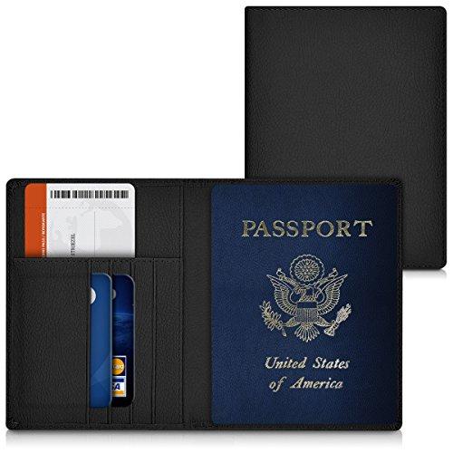 kwmobile Funda para pasaporte de cuero sintético compatible con pasaporte - Estuche con ranuras para tarjetas en negro