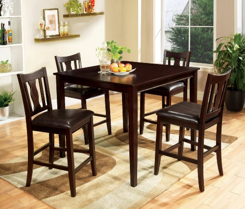 Furniture of America Marion 5-Piece Solid Wood Counter Height Dining Set, Espresso