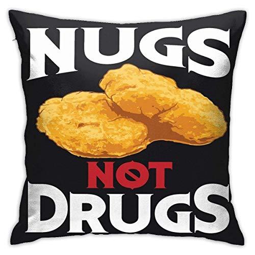 BEDKKJY Nugs Not Drugs Art Cool Ich Liebe Nuggets Design Geschenk Quadrat Kissenbezug Überwurf Kissen Sofa Kissen Autokissen Dekoration 18x18 Zoll
