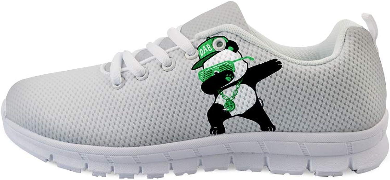 Owaheson Lace-up Sneaker Training shoes Mens Womens Dabbing Stylish Panda Bear
