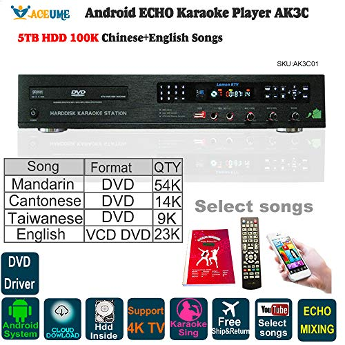 5TB HDD, 100K Chinese+English Karaoke Songs, Android HDD Karaoke...