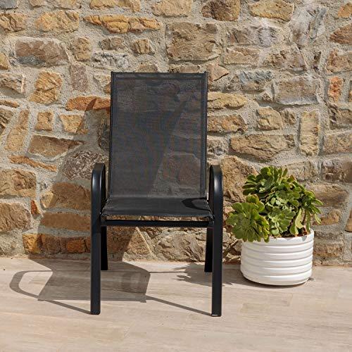 Sedie da Giardino, Sedie da Esterno per Giardino, Terrazza, Balcone, Veranda, Piscina, in Metallo e PVC, Sedie Impilabili, Colore Nero 4 Pezzi