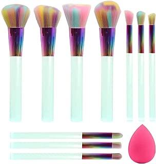 BEAKEY 10 PCs Makeup Brush Set Premium Synthetic Foundation Eyeshadows Blush Kabuki Brushes with a Makeup Sponge