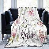 Benle Manta Super Suave,Acuarela-Boho-Blossom-Flower-Set-Primavera,Manta de Felpa Suaves y esponjosa para sofá Cama y Sala de Estar Adecuada para Todas Las Estaciones 150x125cm