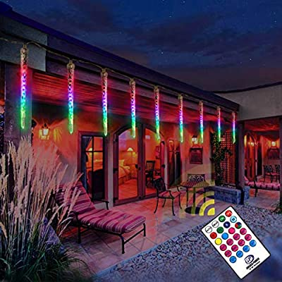 Slashome Colorful LED Icicle Lights, 8-Count 96 LED Colors Dimmable Christmas Lights Outdoor,Weatherproof RGB Lights with Remote, for Christmas Patio Yard Garden Xmas Wedding Party Decor