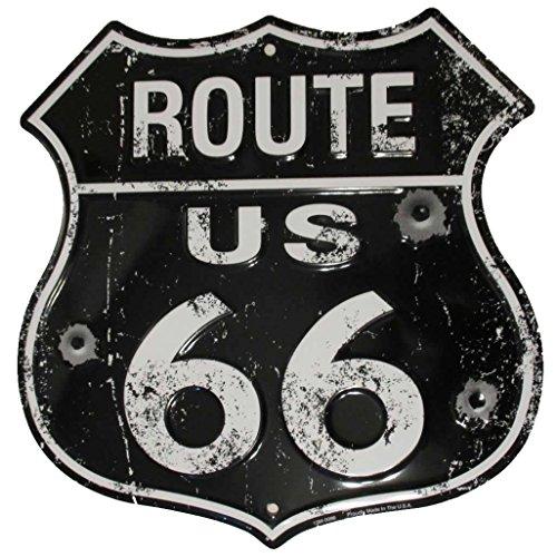 Tags America Black Route 66 - Cartel de metal vintage con agujeros de bala - Reproducción envejecida de The Old U.S. Rt. 66 Shield