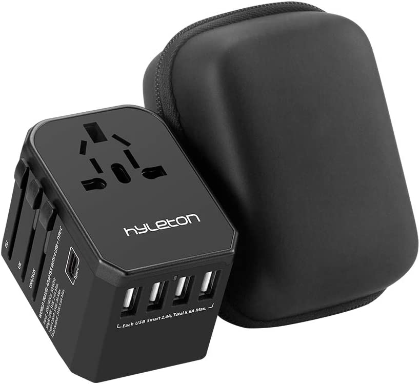 Universal Travel Adapter,hyleton Fast Charging International Power Adapter with 4 USB Ports and 1 Type C,hyleton All in One Travel Plug Adapter for US, EU,UK,AU,Asia
