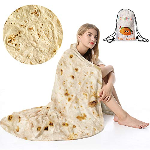 Admitrack Tortilla Wrap Blanket,Burritos Round Wrap Blanket,Tortilla Throw Blanket,Funny Realistic...