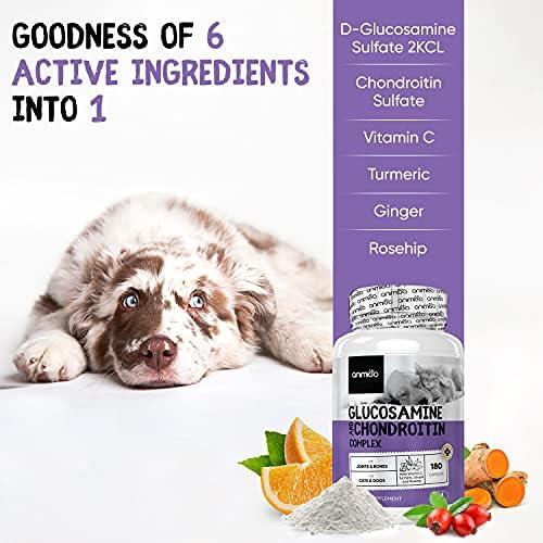 Glucosamine Chondroïtine Chien et Chat - Vitamine C, Curcuma, Gingembre - Chondroprotecteur pour Articulations, Os, Cartilage - Ingrédients Naturels Saveur Neutre - 180 Capsules Hautement Dosées