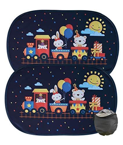 HECKBO® Parasole Autoadesivo per Auto - Protezione dal Sole per Bambini [2 Pezzi] | Animali sul treno | 48x31cm |Tendine Autoadesive per Finestrini e Lunotto con Custodia