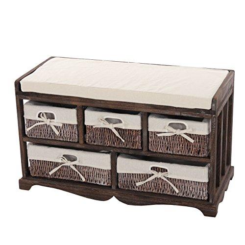 Mendler Kommode und Sitzbank mit 5 Schubladen, 45x77x36cm, Shabby-Look, Vintage ~ braun