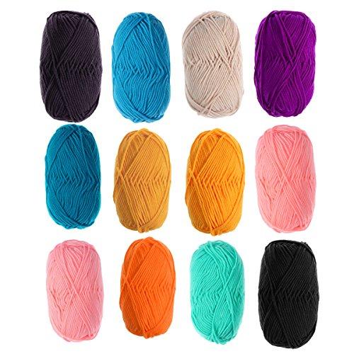 ULTNICE 12Pcs 50g Milk Knitting Cotton Yarn Warm Soft Chunky Hand-woven Crochet Wool Yarn for...