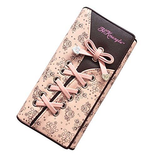 Damen Elegant Süß Leder Geldbörse Damen Blumen Schnürsenkel Schuhband Individual Portemonnaie Geldbeutel von Hanna's