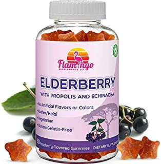Elderberry Gummies Enhanced with Vitamin C, Propolis, Echinacea for Kids and Adults. No Gelatin - Kosher and Halal. Raspbe...